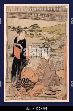 Yokyu, Bogenschießen. [zwischen 1787 und 1790] 1 print: Holzschnitt, Farbe; 37,6 x 24,1 cm., zeigt Print drei Frauen, - Stockfoto