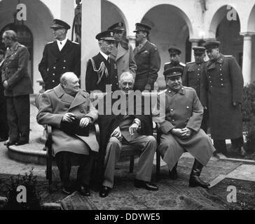 Konferenz der Alliierten Führer, Jalta, Krim, UdSSR, Februar 1945. Künstler: Anon - Stockfoto