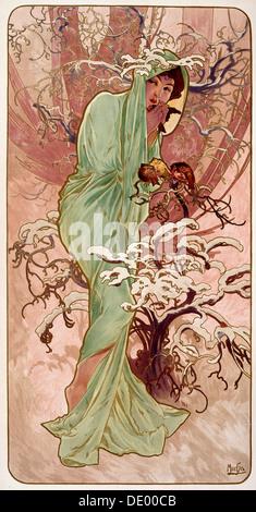 """""""Winter"""", 1896.  Künstler: Alphonse Mucha - Stockfoto"""