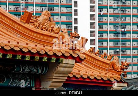 Dächer, Wong-Tai-Sin-Tempel, Hong Kong, China, Asien - Stockfoto