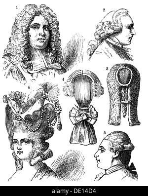 Fashion 18 Jahrhundert Put Up Frisur Zeichnung Deutschland