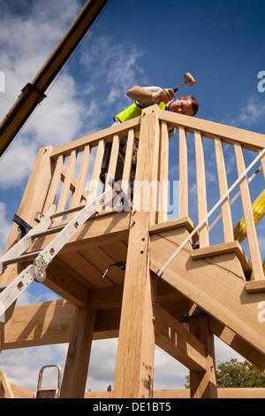Selbst Haus Zu Bauen Hebt Konstruieren Grune Eiche Holz Gerahmte