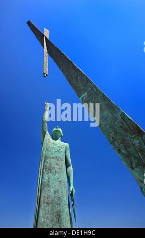 Die Statue des Pythagoras, der berühmte griechische Philosoph und Mathematiker, in Pythagoreion Stadt, Insel Samos, - Stockfoto