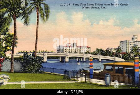 41St Street Brücke über den Indian Creek, Miami Beach, Florida, USA, 1937. Artist: Unbekannt - Stockfoto