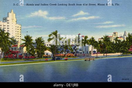 Hotels und Indian Creek im Süden von 41st Street, Miami Beach, Florida, USA, 1946. Artist: Unbekannt - Stockfoto