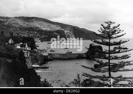 Geographie/Reisen, Portugal, auf der Insel Madeira, Funchal, Aussicht, im Hafen das Fahrgastschiff MS Milwaukee - Stockfoto