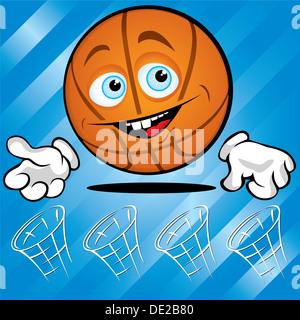 Lustiger lächelnder Basketball auf blauem Hintergrund - Stockfoto