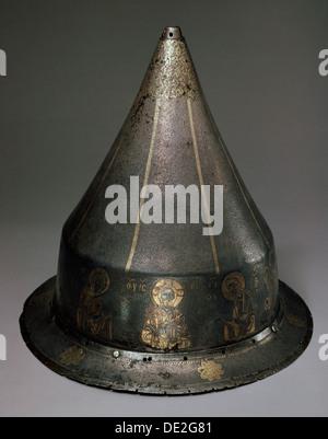 Stahl, gold und Silber Helm mit Deesis, byzantinischen, 13. Jahrhundert. Künstler: Byzantinische Meister - Stockfoto