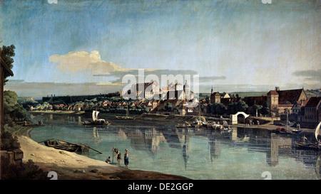 """""""Ansicht von Pirna vom rechten Ufer der Elbe"""", c1753. Künstler: Bernardo Bellotto - Stockfoto"""