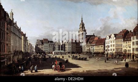 """Der alte Marktplatz in Dresden"", c1750-c1752. Künstler: Bernardo Bellotto - Stockfoto"