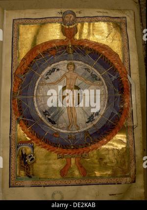 """Universal Mann, Beleuchtung von Hildegard von Bingen """"Liber divinorum operum"""" oder """"Buch der göttlichen Werke, in - Stockfoto"""