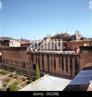 Die Festung von Bernstein, der alten Hauptstadt des Staates Jaipur, Rajasthan. - Stockfoto