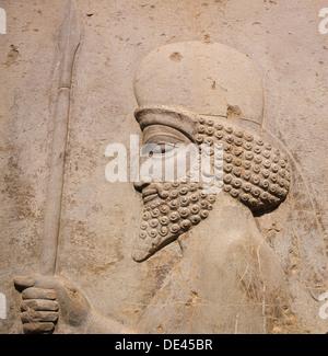 Ein Detail des Reliefs auf der Treppe zu den Tripylon bei Persepolis, Darstellung einer Mede schnitzen. - Stockfoto