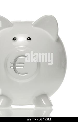 Sparschwein mit Euro-Symbol in der Nase - Stockfoto