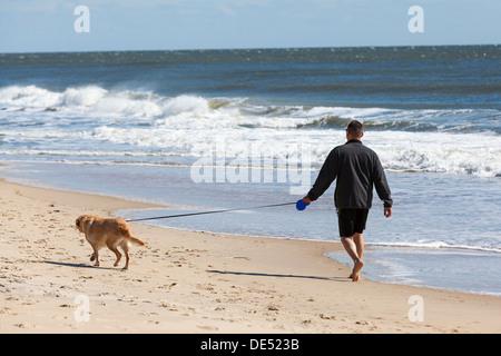 Ein Mann geht seinen Hund auf einem Ozean Küste Strand und Wellen des Ozeans unter seinen Füßen. - Stockfoto