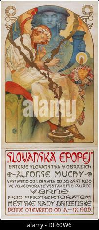 Plakat für die Ausstellung der Slawischen Epos (Slovanská epopej), 1928. Artist: Mucha, Alfons Maria (1860-1939) - Stockfoto