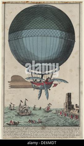 Jean Pierre Blanchard und John jefferies Ankunft in Calais nach dem Ärmelkanal in einem Heißluftballon, 1785. Künstler: - Stockfoto