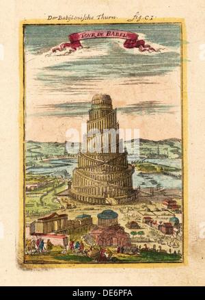Turm von Babel, 1719. Künstler: Mallet, Alain Manesson (1630-1706) - Stockfoto