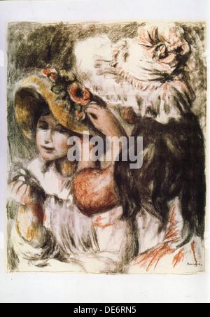 Le Chapeau Épinglé (Pinning des Hutes), 1898. Künstler: Renoir, Pierre Auguste (1841-1919) - Stockfoto