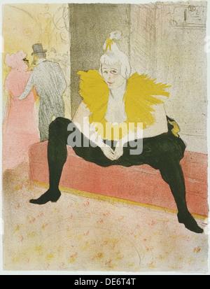Sitzende Clownin (Mademoiselle Cha-u-ka-o), 1896. Künstler: Toulouse-Lautrec, Henri de (1864-1901) - Stockfoto