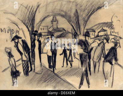 Die Szene unter den Lauben in Thun, 1913. Künstler: Macke, August (1887-1914) - Stockfoto