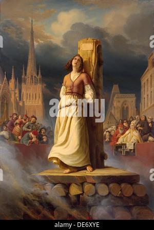 Jeanne d ' Arcs Tod auf dem Scheiterhaufen, 1843. Künstler: Stilke, Hermann (Anton) (1803-1860) - Stockfoto