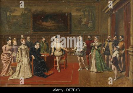 Caterina de ' Medici erfüllt ihre Söhne Charles IX. und Heinrich III. Künstler: Bakalowicz, Wladyslaw (1831-1904) - Stockfoto
