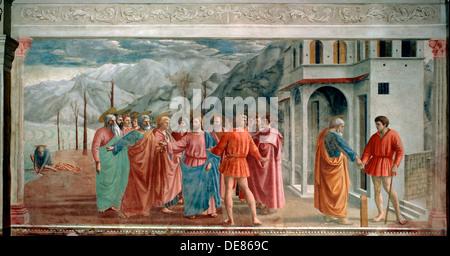 """The Tribute Money"", 1425.  Künstler: Masaccio Tommaso - Stockfoto"