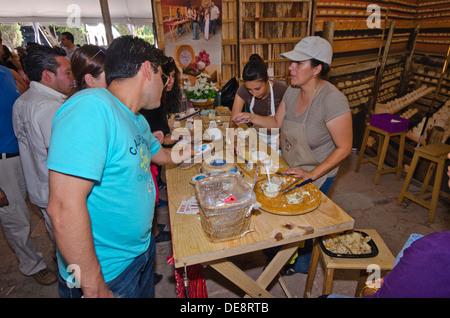 Stall verkauft Käse auf dem internationalen Käse und Wein Festival in Tequisquiapan im Bundesstaat Querétaro in - Stockfoto