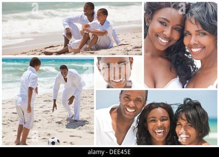 Afroamerikanische Familie Mutter Vater zwei Söhne & Tochter außerhalb aktiv am Strand Spaß spielen im Sommersonnenschein - Stockfoto