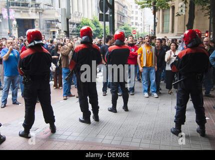 Generalstreik im Baskenland am 21. März 2009. Bilbao. Vizcaya. Spanien. - Stockfoto