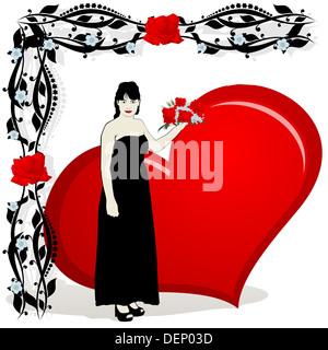 Abstraktes Bild einer jungen Frau mit einem Herzen in der floralen Zierrahmen. Die Abbildung auf einem weißen Hintergrund. - Stockfoto