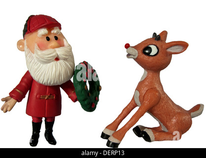 Persönlichkeiten der Charaktere Santa Claus und Rudolph das rote gerochene Ren auf weißem Hintergrund - Stockfoto