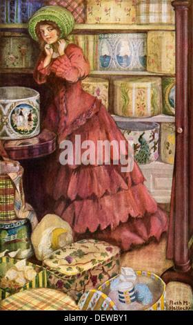 Kunden, die versuchen, auf die Hüte von bandboxes in einem Shop, 1890 oder 1900. Gedruckte Farbe halftone einer - Stockfoto