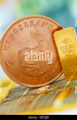 Krügerrand Münzen Und Goldbarren Auf Euro Noten Gold Preis