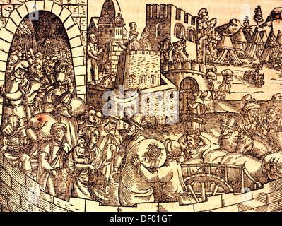 Biblische Szene, altes Testament, Buch Esra, Auszug der Juden aus der babylonischen Gefangenschaft, Holzschnitt von Jost Amman