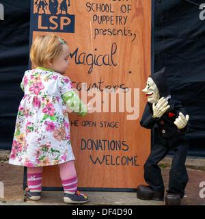 Verzaubernter Begegnungen in Skipton GROSSBRITANNIEN. 27 September, 2013. Internationale Festival der Marionetten. - Stockfoto