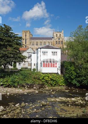 Blick über Fluß Ure in Ripon England zur Kathedrale - Stockfoto
