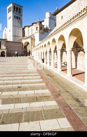 Basilika San Francesco teilt. Assisi, Provinz Perugia, Italien. - Stockfoto
