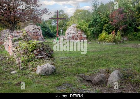Verlassenen Kirche in der alten Stadt von Kostrzyn, Polen - Stockfoto