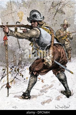 Die Rüstung von Pilger getragen in Massachusetts im Jahre 1620. Hand - farbige Holzschnitt - Stockfoto