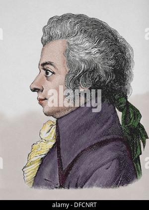 Wolfgang Amadeus Mozart ((1756 – 1791). Komponisten der Klassik. Gravur (spätere Färbung). des 19. Jahrhunderts.