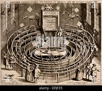 Anatomische Theater Leiden (Museum Boerhaave) Willem Swanenburgh 1581 – 1612 Kupferstich (Zeichnung Johannes Woudanus) - Stockfoto