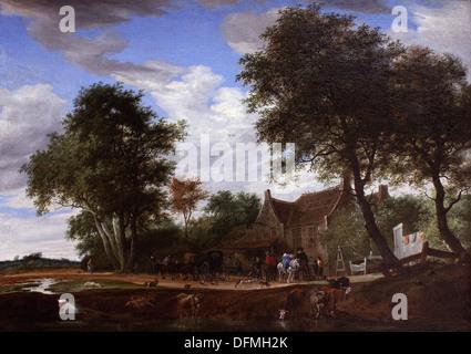 Salomon van RUYSDAEL - Reisende vor dem Inn zu den weißen Schwan - 1662 - Museum der schönen Künste - Budapest, - Stockfoto