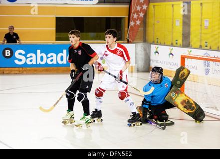 England V Österreich U17 Rollhockey-Europameisterschaft Madrid 2013 - Stockfoto