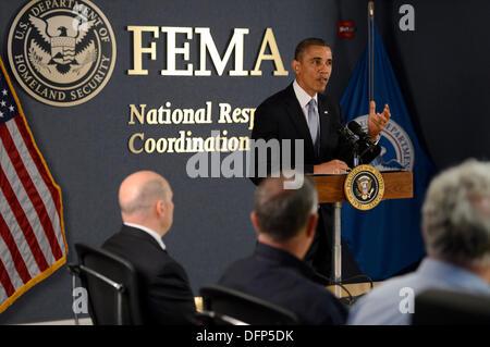 Washington, DC, USA. 7. Oktober 2013. US-Präsident Barack Obama liefert Hinweise auf die Regierung Abschaltung bei - Stockfoto