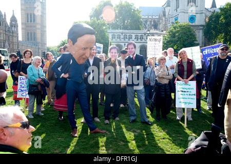 London, UK. 8. Oktober 2013. Protest gegen ein würgen Gesetz durch das Parlament, stürzte sein ist die Aktivisten, - Stockfoto