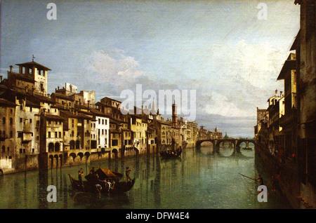 Bernardo BELLOTTO (CANALETTO) - dem Fluss Arno in Florenz - Museum der schönen Künste - Budapest, Ungarn. - Stockfoto
