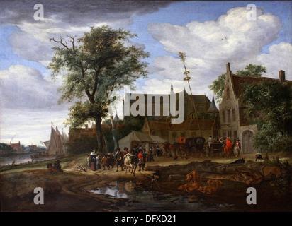 Salomon van RUYSDAEL - Reisende vor einem Gasthaus mit einem Maibaum - 1664 - Museum der schönen Künste - Budapest, - Stockfoto