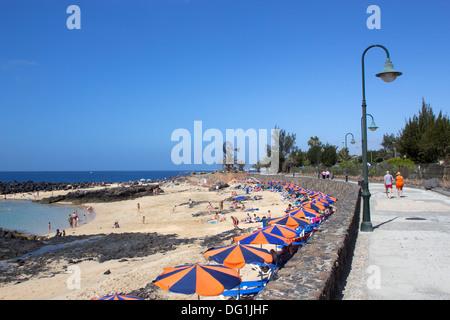 Playa del, Jablillo Beach, Costa Teguise, Lanzarote, Kanarische Inseln - Stockfoto